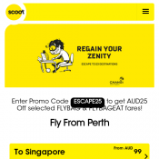 Get AUD25 Off selected FLYBAG & FLYBAGEAT fares @Scoot Deal Image