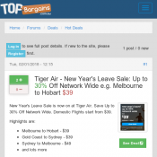 New year's leave! up to 30% network wide from  $39 @Tiger Air Deal Image