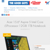"Acer 15.6"" Aspire 5 Intel Core i5Processor 12GB 1TB Notebook $799 (was $1199) @The Good Guys  Deal Image"