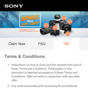 Buy a selected Sony camera or lens between 15th November 2017 - 31st January 2018 and receive a BONU