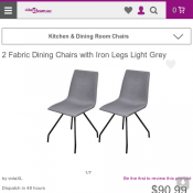 2 Fabric Dining Chairs with Iron Legs Light Grey  $90.9 Deal Image