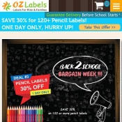 30% Off School Pencil Labels - One Day Deal @ Oz Labels Deal Image
