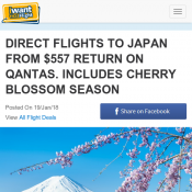 DIRECT FLIGHTS TO JAPAN FROM $557 RETURN ON QANTAS. INCLUDES CHERRY BLOSSOM SEASON  Deal Image