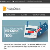 All Australian Brands 10% OFF with Code @Visionsdirect Deal Image