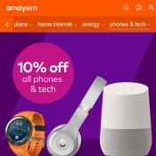 Amaysim - 10% Off Phones & Tech with code  Deal Image