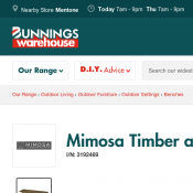 Mimosa Timber and Wicker Corsica Bench $99 Deal Image