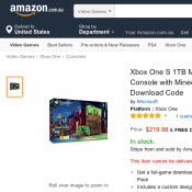 Xbox One S 1TB Minecraft Limited Edition Console $219 Free Shipping