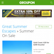 10% Off Summer Escapes (code)! 3 Days Only @Groupon Deal Image