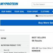 33% OFF for $165, 30% OFF for $135 or 25% OFF everything with code @Myprotein Deal Image