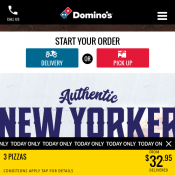 Domino's - 33% Off New Yorker Range Pizzas  Today Only Deal Image
