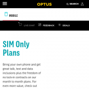 Online Offer: 20GB Unlimited Talk & Text Plan for $40/month @Optus Deal Image