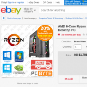 AMD 6-Core Ryzen 5 1600 3.6GHz 8GB 1TB GTX 1080 8GB Gaming Computer $1407.20  Deal Image