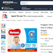 Huggies Ultra Dry Nappies, Boys, Size 6 (16kg+)  $37.33 (Was $76.17) Deal Image