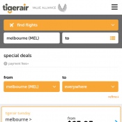 Tiger Air - Tuesday Flight Frenzy - Gold Coast to Sydney $59.95, Melbourne to Adelaide $65.95 Deal Image
