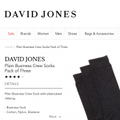 DAVID JONES Plain Business Crew Socks Pack of Three $5 (RRP $19.95) Deal Image