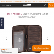 Arizona Ziparound RFID Leather Secure Travel Wallet $50.00​ Deal Image