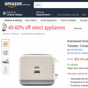 Kenwood Kmix 2 Slice Toaster, Cream $55.60 (RRP $132.33) @Amazon Deal Image
