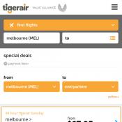 Special deals and Promotions at Tiger Air  Deal Image