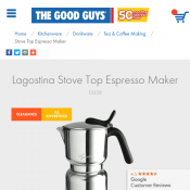 Lagostina Stove Top Espresso Maker $15 Clearance Sale! Deal Image