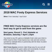 FREE MAC Footy Express Services Port Adelaide vs Brisbane Deal Image