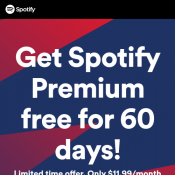 Spotify Premium - Free for 60 Days! New Customers Only Deal Image