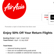 50% Off Your Return Flights @Air Asia  Deal Image
