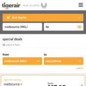 Tiger Airways Special Deals - Domestic Flights starting from $67.95 Deal Image