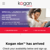 SPECIAL LAUNCH OFFER UNLIMITED DATA* with nbn50  now only $58.90/mth @Kogan Deal Image