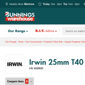 Irwin 25mm T40 Impact Screwdriver Bit $2 (RRP $4) @Bunnings