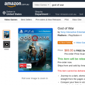 God of War for PS4 Pre Order Price $69 and Free Shipping @Amazon Deal Image