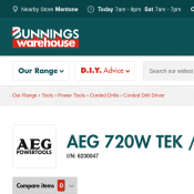 AEG 720W TEK / Roofing Screwdriver $149 (was $199) @Bunnings Deal Image