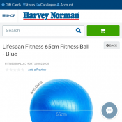 Lifespan Fitness 65cm Fitness Ball - Blue $20 (RRP $54) Deal Image