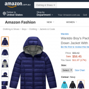 Wantdo Boy's Packable Lightweight Puffer Down Jacket With Hood $56.45 (RRP $68.42) @Amazon Deal Image