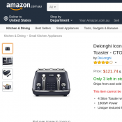 Delonghi Icona Elements 4 Slice Toaster $121.74 @Amazon Deal Image