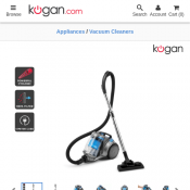 Kogan Mighty 2200W Cyclonic Vacuum Cleaner With Turbo Brush $89 Deal Image