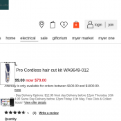 WAHL Color Pro Cordless hair cut kit was $99.00 now $79.00 Deal Image