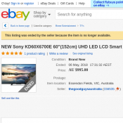 "NEW Sony 60""(152cm) UHD LED LCD Smart TV AU$995 (RRP $1499) Deal Image"