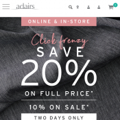 Click Frenzy 2018: 20% Off Full-Priced Items / 10% Off Sale Items @Adairs Deal Image