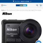 Nikon KeyMission 170 Black f/2.8 Ultra Wide Angle Digital Video Camera $289.50 Deal Image
