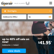 Up to 40% off sale on now from  $41.95 @Tigerair Deal Image