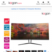 "Kogan 35"" Curved 21:9 Ultrawide 200Hz FreeSync Gaming Monitor $489 Deal Image"