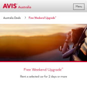 Free Weekend Upgrade @AVIS Deal Image