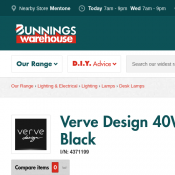 Verve Design 40W Freya Desk Lamp - Black  $5.95