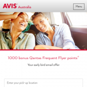 1,000 Bonus Qantas Frequent Flyer Points with 4+ Car Rental with code @Avis Deal Image