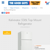 Kelvinator 536L Top Mount Refrigerator $748 (RRP $848) @The Good Guys Deal Image