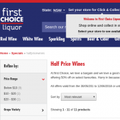 Half Price Wines @First Choice Liquors Deal Image