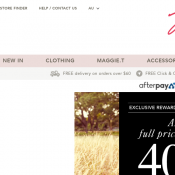 Exclusive Reward Members Sale: 40% Off Full Priced Items @Millers Deal Image