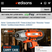 Unimac Cordless Impact Wrench $97 Deal Image