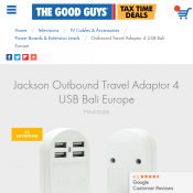 Jackson Outbound Travel Adaptor 4 USB Bali Europe $19 (Was $39.99) Deal Image