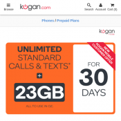 3GB Unlimited Standard Calls/Text Prepaid Plan $0.99 for 30 Days - New Customers Only @Kogan Mobile Deal Image